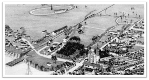 On voit le chemin de fer du Drummond Athabaska conduisant au quai sur le fleuve Saint-Laurent pour l'embarquement des effets à bord des bateaux. Vue de Sorel à Vol d'Oiseau 1881 ANO.
