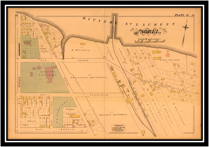On voit l'hôtel Rail Road et le chemin de fer Drummond Arthaska Plan Hopkins Sorel 1880 ANQ