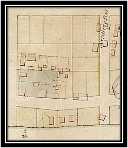 Plan de la ville de William Henry par Haldimand 1787 ANO Maison et la boulangerie de Grégoire Guilbault