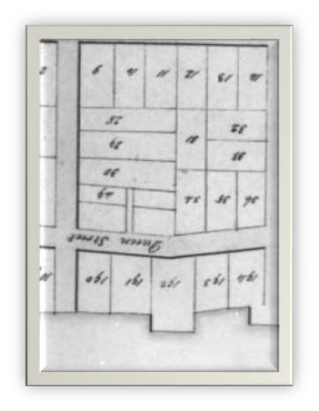 Carte de Watson 1795 ANO Lot H, la maison et la boulangerie appartenaient à Adam Hartline