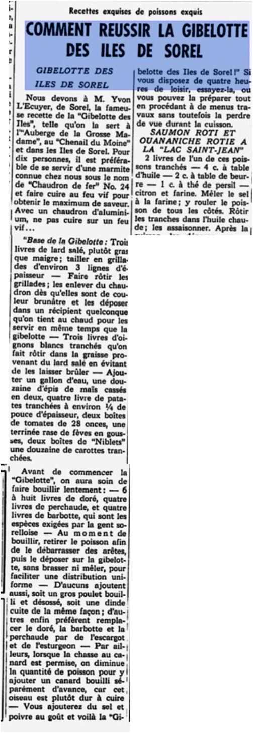 recette de la gibelotte journal Le Portage 31 mai 1960