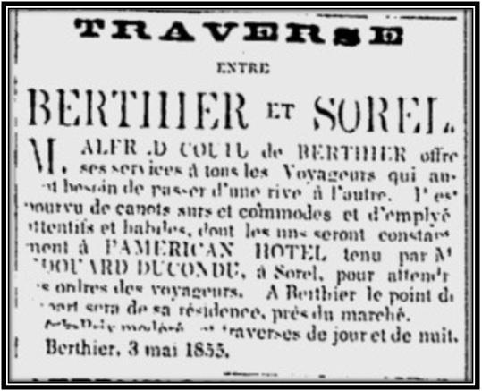 Journal Les Campagnes 3 mai 1855 Archives Nationales du Québec