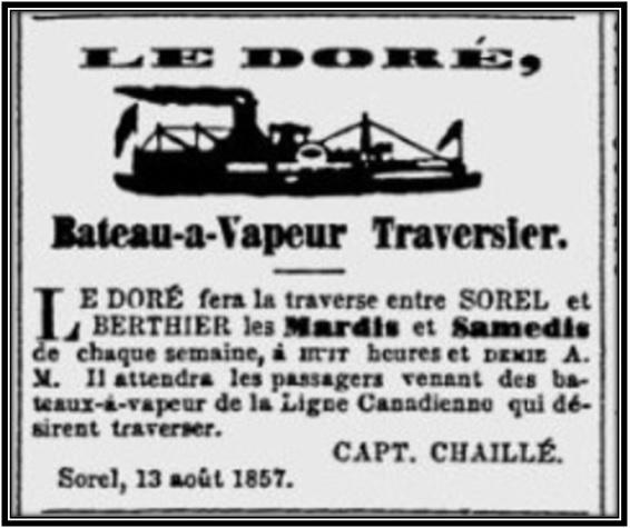 La Gazette de Sorel 13 août 1857  Archives Nationales du Québec