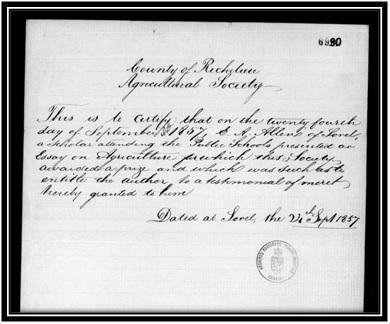 Archives Nationales du Canada, eigneurie de Sorel, Vol 15, Compagnies et Sociétés 1849-1877