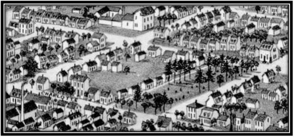Le vieux cimetière anglican sur les rues Charlotte, Denis, Hôtel-Dieu et Élisabeth. Vue de Sorel à vol d'oiseau 1881 Archives Nationales du Canada