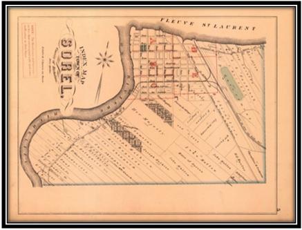 Carte Hopkins 1880 Archives Nationales du Québec. On remarque sur cette carte la ferme et le Cottage St-Lawrence de Léonard Georges James Fosbrooke sur lot 6 au 95 Chemin St-Anne.