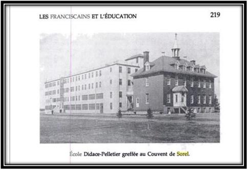 On voit sur cette photo le Monastère des Franciscains et l'école Didace Pelletier 1956. Ces photos sont tirées du livre Les Franciscains au Canada 1890-1990- page 219