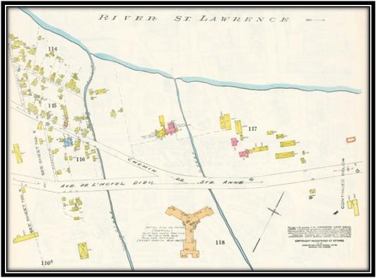 On voit sur cette carte les Pères Franciscains Plan de Sorel de 1947 Under Ritter Archives Nationales du Québec