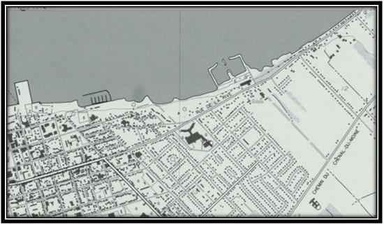 On voit sur le terrain des Pères Franciscains. Il ne reste que le Monastère Cartes et plans de la ville de Sorel  Archives Nationales du Québec 1993.