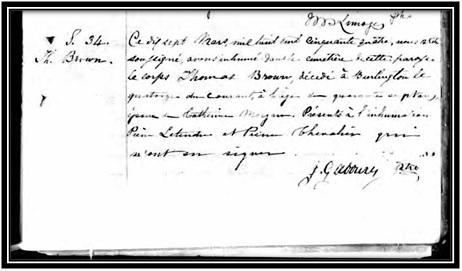 Acte de décès de Thomas Brown le 17 mars 1854 à St-Pierre-de-Sorel. Ancestry.com