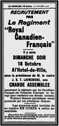 Le Courrier de Sorel 14 octobre 1914 Archives Nationales du Québec.