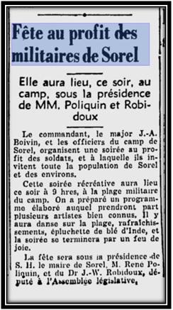 Le Courrier de Sorel 29 août 1942 Archives Nationales du Québec.
