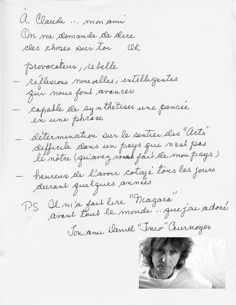 Daniel Cournoyer - Claude Péloquin lettre