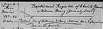 Certificat de naissance de Robert Nelson le 8 août 1793 à Sorel. Registre de la paroisse anglicane de Christ-Church à Sorel. A.N.Q.