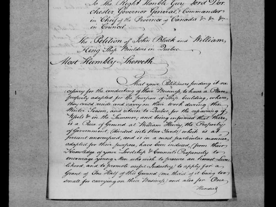 Premier contrat de bateau par William King constructeur de vaisseau de William Henry à William Beaston maitre commandant du bateau Euretta. Devant le notaire William Beek de Montréal. 23 juin 1792. ANQ